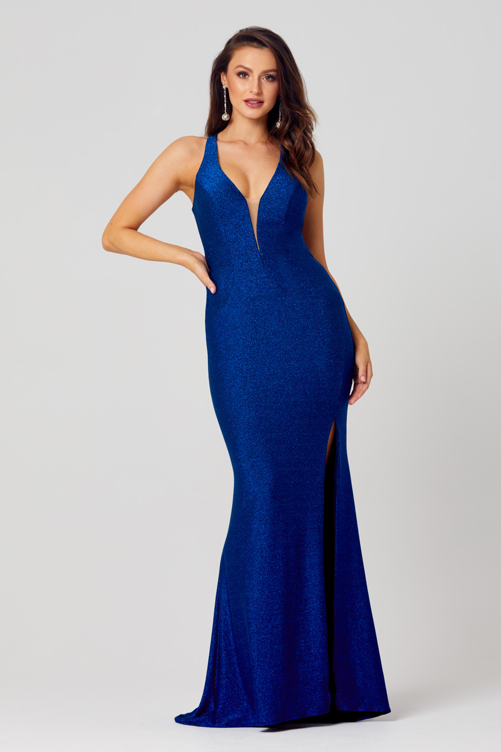 PO843 Gia formal dress in cobalt - front angle